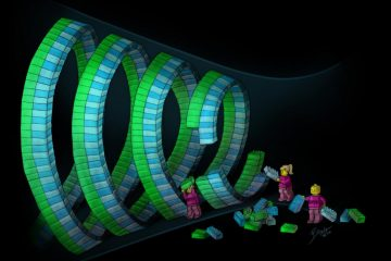 This drawing illustrates dynamic remodeling in ESCRT-III polymers. Vps4 mediates turnover of ESCRT-III subunits within growing and constricting polymers -- analogous to Lego figures exchanging the building blocks within a large spiral assembly.